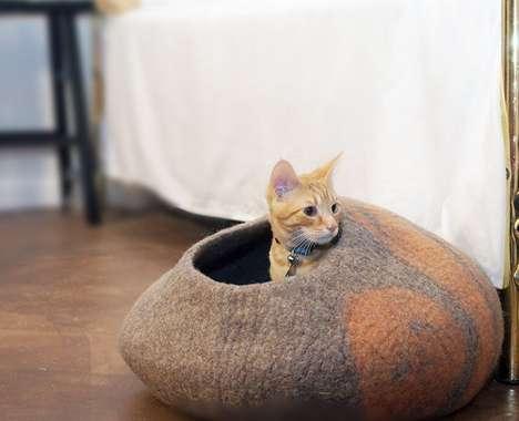 Handmade Felted Cat Beds