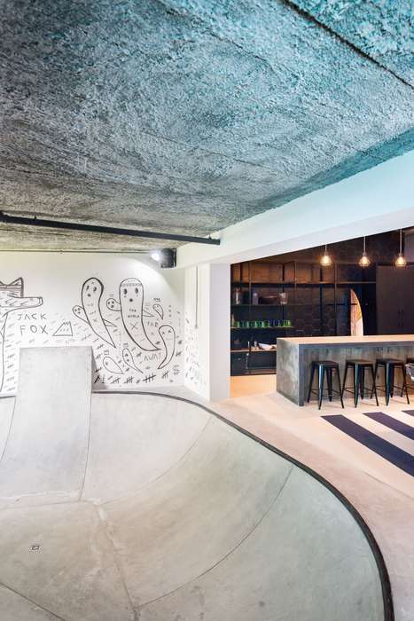 Skateboard Park Rec Rooms - Inhouse Brand's Home Design Includes a Skate Bowl for the Resident Teen