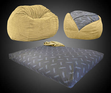 Shapeshifting Chair Beds - The Convertible Bean Bag Chair Bed Provides a Spot for Guests to Rest