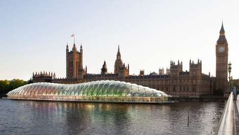 Bubbly Parliament Buildings - This Parliament Concept Would Be Located In a Bubble On the River