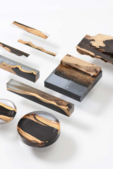 Resin-Encased Desk Decor - These Functional Items Come in the Form of Wood Wrapped in Resin