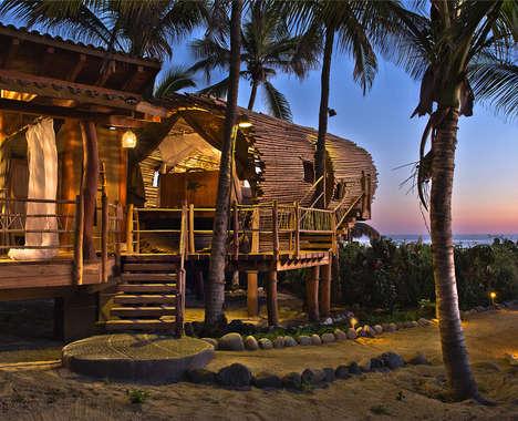 Cylindrical Bamboo Huts