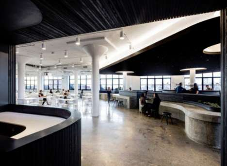 Expansive Pillared Offices - The Squarespace Office Features Large Contemporary Work and Play Areas