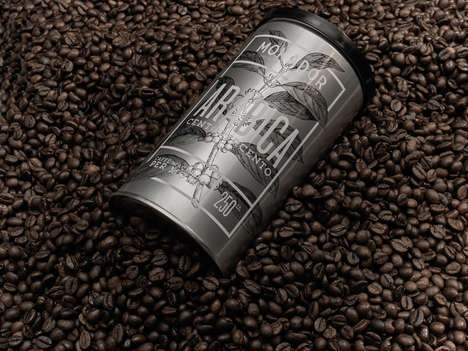Etched Coffee Canister Branding - The Mokador Arabica Blend is Packaged to Underline Value
