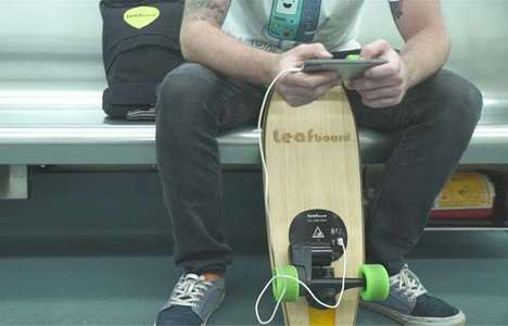 Phone-Charging Powered Skateboards - The 'Leafboard' Skateboard Travels Up to 11-Miles on One Charge