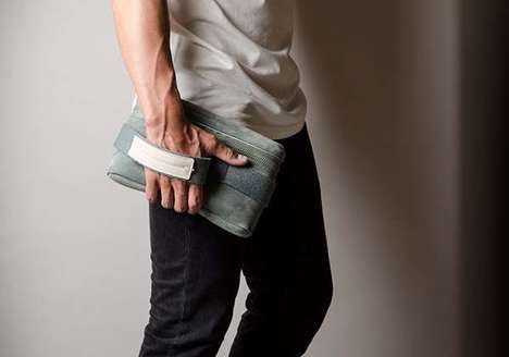 Masculine Suede Clutch Bags - The Hard Graft Wrist Pack Volume One Stores Essentials During Commutes