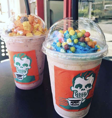 Cereal-Topped Blended Coffees - The Rad Coffee Cereal Coffees are Topped with Kids Cereal