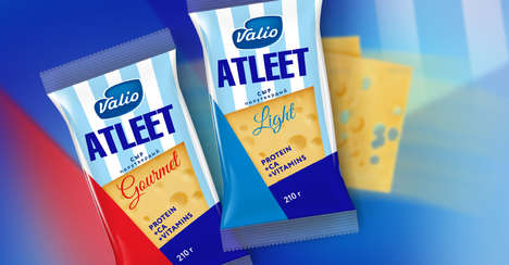 Geometrical Cheese Branding - The Valio Atleet Cheese Packaging Puts Patterns and Colors on Display