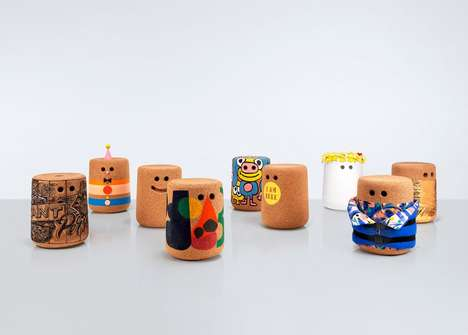 Characterized Cork Stools - The Movement on the Ground Charity is Auctioning Uniquely Designed Seats