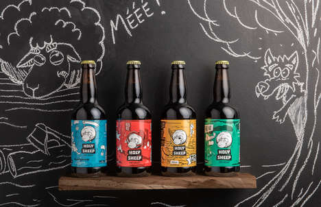 Sheep-Inspired Beer Labels - These Narrative Beer Bottles Feature Illustrations That Tell a Story