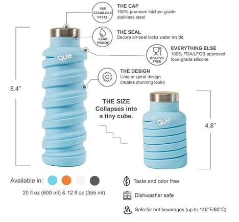 Compressible Travel Bottles - The 'que' Travel Water Bottle Has a Design That Collapses and Expands
