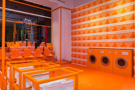 Scarf-Personalizing Pop-Ups - Hermes' Pop-Up Store Takes Inspiration from the Task of Doing Laundry