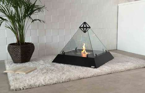 Freestanding Pyramid Fireplaces - The bioKamino 'LOUVRE' Fireplace Design Has Modern Flair