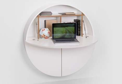 Spherical Wall-Mounted Desks - The Pill by EMKO Work Desk Design is Fit for Small Living Spaces
