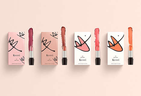 Hand-Drawn Makeup Packaging - The Kerri Cosmetic Makeup Product Branding Focuses on Flawless Beauty