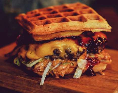 Thriller-Themed Burgers - This Eggos Waffle Burger is One of Many Stranger Things Menu Items