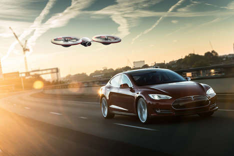 Electric Car Brand Drones - The Tesla Video Drones Concept Provides 4K Capturing Capabilities