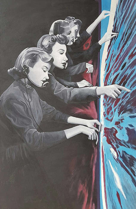 Futuristic Vintage Paintings - Anna Di Mezza Paints Surreal Scenes Along with 1920s Photos