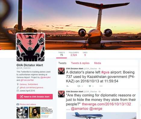 Dictator-Tracking Social Accounts - 'GVA Dictator Alert' Tweets When Dictators Fly into Geneva