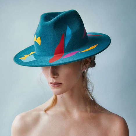Abstract Art Hats - Laura Apsit Livens' Quality Headwear is Complemented with Bright Shapes