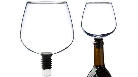 Wine Bottle Glass Toppers - This Wine Bottle Add-On Forgoes the Need for Individual Glasses