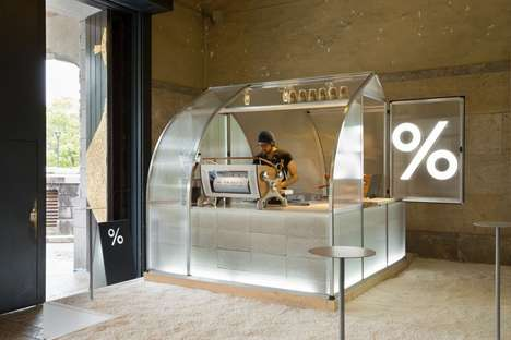 Translucent Coffee Kiosks - PUDDLE Created a Unique Booth for the International Modern Arts Festival