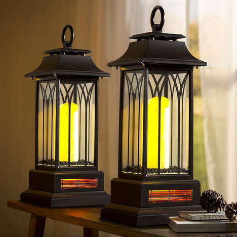 LED Lantern Heaters - The Indoor Lantern Infrared Heater Provides Soothing Warmth Discreetly