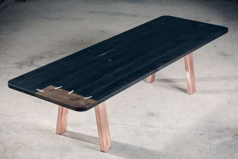 Stitched Wooden Tables - The Black Patch Match Table Looks Like it Has Been Sewn Together