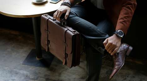 Reinforced Commuter Satchels - The Cravar Alpha 15 Classic Leather Briefcase is Ready for Daily Use