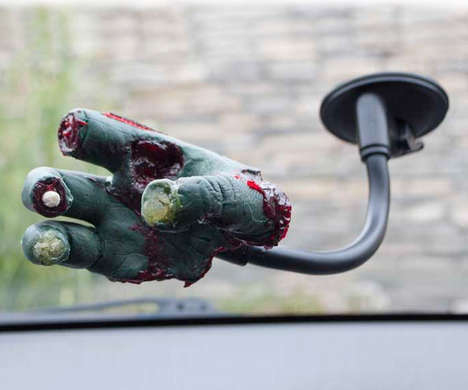 Ghoulish Gadget Holders - The Severed Zombie Hand Car Phone Holder Works with Any Smartphone