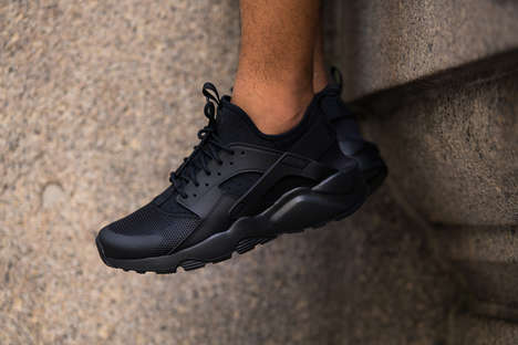Breathable All-Black Sneakers - The New Nike Air Huaraches Fuse a Futuristic Look with Functionality
