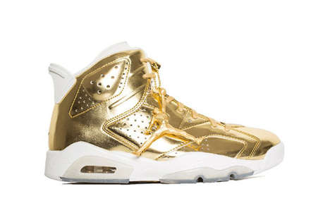 Boldly Ornate High-Tops - These Gold Air Jordan 6s Feature an Extravagant Metallic Upper