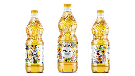 Naturalistic Watercolor Oil Branding - The Oleos Sunflower Oil Packaging Focuses on Wildlife