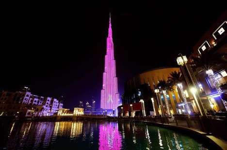 Luminous Pink Towers - Dubai's Burj Khalifa is Turning Pink for Breast Cancer Awareness Month 2016