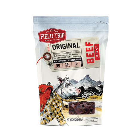 Travel-Themed Jerky - Packaging for 'Field Trip Jerky' Shows Cows and Pigs as Travelers