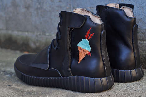 Custom Ice Cream Sneakers - JBFcustoms Adapted the Yeezy Boost 750 with a Gucci Mane-Inspired Cone