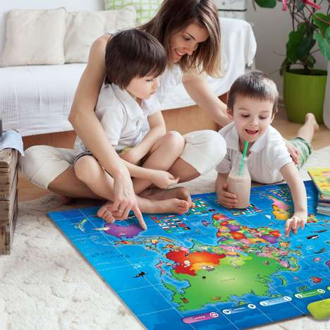 Interactive Education Maps - The Learn & Climb Push-to-Talk Kids World Map is Interactive