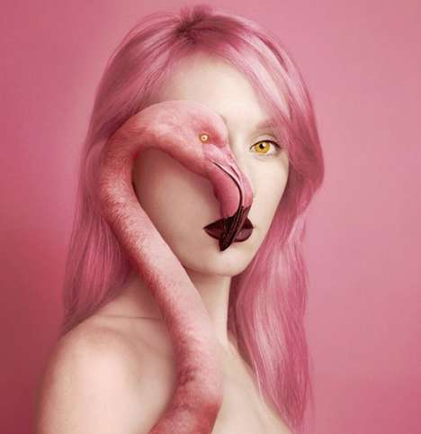 Animal-Human Hybrid Portraits - This Photography Collection by Flora Borsi Reinterprets the Selfie