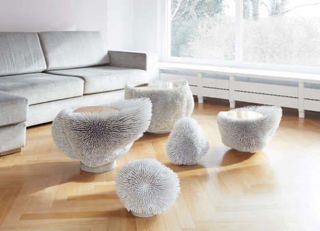 Spiky Urchin Furniture - The Sea Anemone White Collection is Made from Protruding Beech Rods