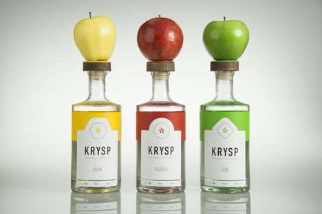 Fruit-Inspired Spirit Packaging - Krysp Orchard Distillery Spirit Bottles are Branded Like Apples