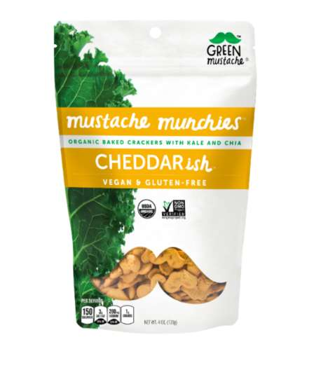 Mustache-Shaped Crackers - Green Mustache Makes Superfood Cheddar Crackers with Chia and Kale