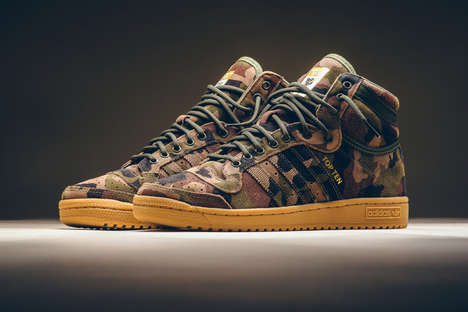 Canvas Camouflage Sneakers - adidas' 'Top Ten Hi' Shoes Stylishly Revitalize a Retro Model