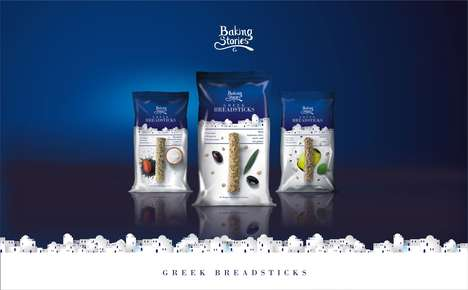 Mediterranean Packaged Bread Sticks - These Snacks Were Packaged to Represent Their Greek Origins