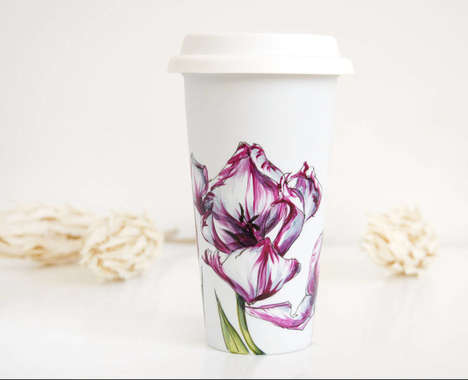 Elegant Floral Coffee Cups - Yevgenia Davidoff Covers Plain Travelers with Beautiful Flower Designs