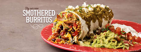 Sauce-Topped Burritos - The Smothered Burritos from Moe's Southwest Grill are Deliciously Messy