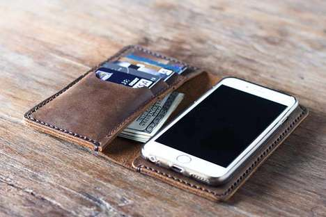 Handcrafted Custom Phone Wallets - The JooJoobs iPhone 7 Handmade Leather Wallet is Personalized