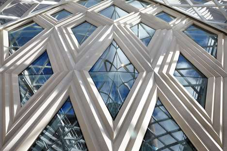 Diamond-Latticed Shopping Centers - Acme's John Lewis Facade Design is a White Concrete Lattice