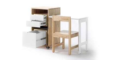 Compact Modular Student Desks - The Ludovico Transforming Office Desk Stores in One Single Unit