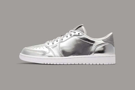 Minimally Branded Silver Sneakers - The New Air Jordan 1s Feature an Eye-Catching Metallic Colorway