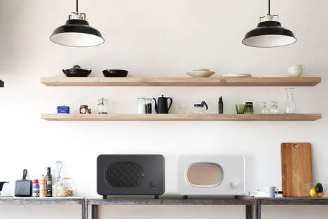 Minimalist Contemporary Microwaves - This Countertop Microwave Features a Spot to Hold an Oven Mitt